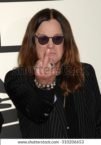 LOS ANGELES - JAN 26:  Ozzy Osbourne arrives at the 56th Annual Grammy Awards Arrivals  on January 26, 2014 in Los Angeles, CA                 - stock photo