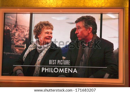 "LOS ANGELES - JAN 16:  ""Philomena"" Nominated Best Picture at the 86th Academy Awards Nominations Announcement  at AMPAS Samuel Goldwyn Theater on January 16, 2014 in Beverly Hills, CA - stock photo"