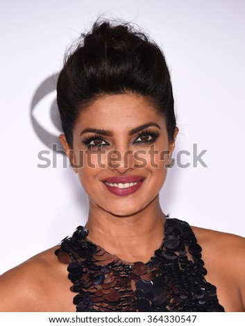 LOS ANGELES - JAN 06:  Priyanka Chopra arrives to the People's Choice Awards 2016  on January 06, 2016 in Hollywood, CA.                 - stock photo