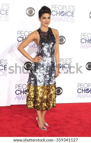 LOS ANGELES - JAN 6:  Priyanka Chopra at the Peoples Choice Awards 2016 - Arrivals at the Microsoft Theatre L.A. Live on January 6, 2016 in Los Angeles, CA - stock photo