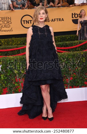 LOS ANGELES - JAN 25:  Rosamund Pike arrives to the 21st Annual Screen Actors Guild Awards  on January 25, 2015 in Los Angeles, CA                 - stock photo