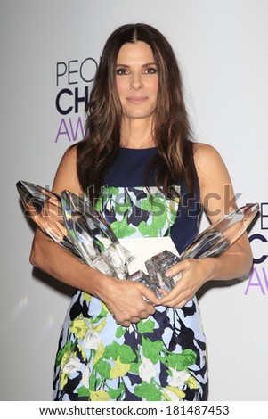 LOS ANGELES - JAN 8: Sandra Bullock at The People's Choice Awards at the Nokia Theater L.A. Live on January 8, 2014 in Los Angeles, California - stock photo