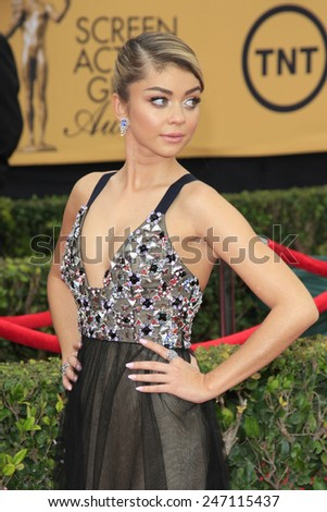 LOS ANGELES - JAN 25:  Sarah Hyland at the 2015 Screen Actor Guild Awards at the Shrine Auditorium on January 25, 2015 in Los Angeles, CA - stock photo