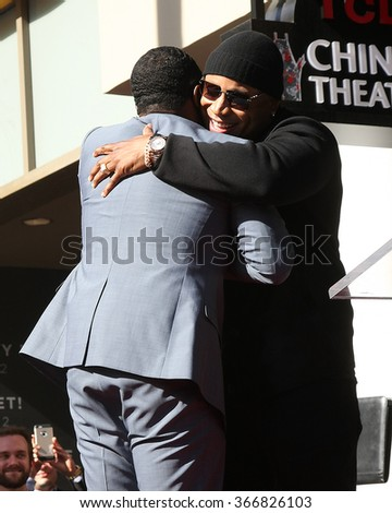 LOS ANGELES - JAN 21:  Sean Combs, LL Cool J at the LL Cool J Hollywood Walk of Fame Ceremony at the Hollywood and Highland on January 21, 2016 in Los Angeles, CA - stock photo