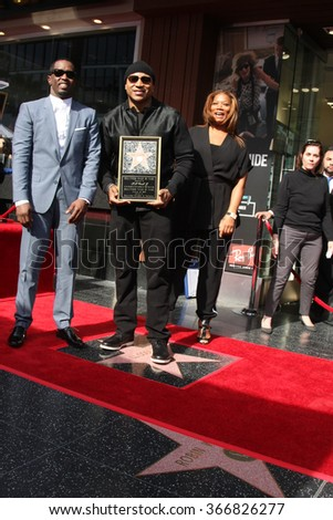 LOS ANGELES - JAN 21:  Sean Combs, LL Cool J, Queen Latifah at the LL Cool J Hollywood Walk of Fame Ceremony at the Hollywood and Highland on January 21, 2016 in Los Angeles, CA - stock photo