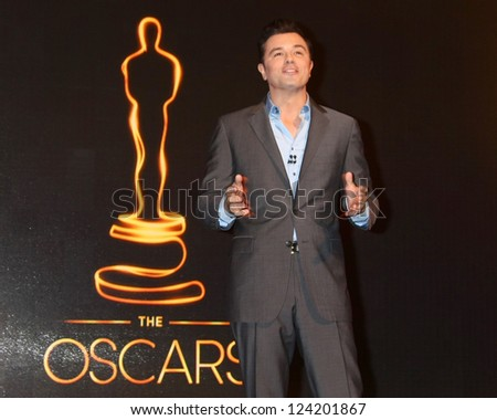LOS ANGELES - JAN 10:  Seth MacFarlane at the 2013 Academy Award nomination announcements at Samuel Goldwyn Theater on January 10, 2013 in Beverly Hills, CA - stock photo