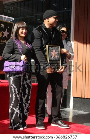 LOS ANGELES - JAN 21:  Simone Smith, LL Cool J, his mama at the LL Cool J Hollywood Walk of Fame Ceremony at the Hollywood and Highland on January 21, 2016 in Los Angeles, CA - stock photo