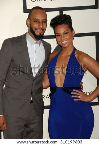 LOS ANGELES - JAN 26:  Swizz Beatz and Alicia Keys arrives at the 56th Annual Grammy Awards Arrivals  on January 26, 2014 in Los Angeles, CA                 - stock photo