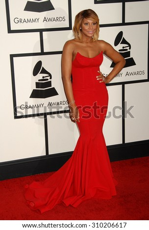 LOS ANGELES - JAN 26:  Tamara Braxton arrives at the 56th Annual Grammy Awards Arrivals  on January 26, 2014 in Los Angeles, CA                 - stock photo