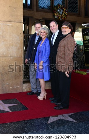 LOS ANGELES - JAN 3:  Taylor Hackford, Helen Mirren, Jon Turteltaub, David Mamet at the Hollywood Walk of Fame Star Ceremony for Helen Mirren at Pig 'n Whistle on January 3, 2013 in Los Angeles, CA - stock photo