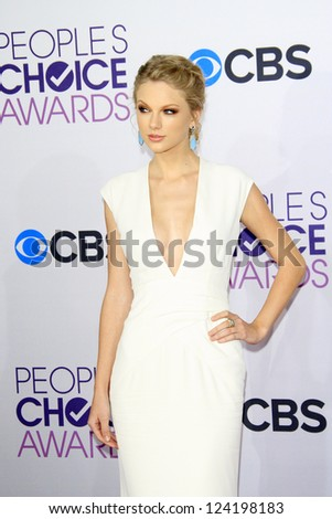 LOS ANGELES - JAN 9: Taylor Swift at the 39th Annual People's Choice Awards at Nokia Theater L.A. Live on January 9, 2013 in Los Angeles, California - stock photo