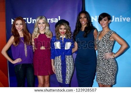 LOS ANGELES - JAN 7:  'The Saturdays' attends the NBCUniversal 2013 TCA Winter Press Tour at Langham Huntington Hotel on January 7, 2013 in Pasadena, CA - stock photo
