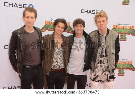 LOS ANGELES - JAN 16:  The Vamps at the Kung Fu Panda 3 Premiere at the TCL Chinese Theater on January 16, 2016 in Los Angeles, CA - stock photo
