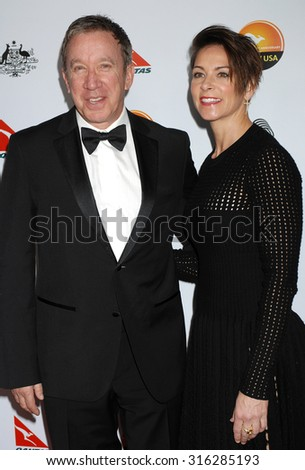 LOS ANGELES - JAN 12 - Tim Allen and Jane Hajduk arrives at the 2013 GDay USA Los Angeles Black Tie Gala  on January 12, 2013 in Los Angeles, CA              - stock photo