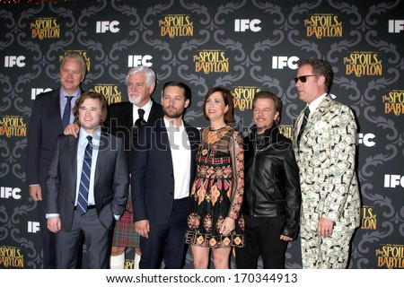 "LOS ANGELES- JAN 7: Tim Robbins, Haley J Osment, Steve Tom, Tobey Maguire, Kristen Wiig, David Spade, Will Ferrell at the ""The Spoils Of Babylon"" Screening at DGA on January 7, 2014 in Los Angeles, CA - stock photo"