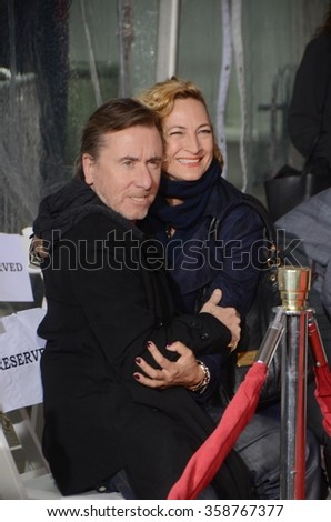 LOS ANGELES - JAN 5:  Tim Roth, Zoe Bell at the Quentin Tarantino Hand & Footprints Ceremony at the TCL Chinese Theater IMAX on January 5, 2016 in Los Angeles, CA - stock photo