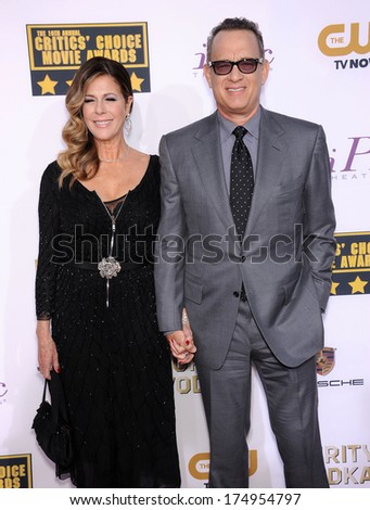 LOS ANGELES - JAN 16:  Tom Hanks & Rita Wilson arrives to the Critics' Choice Movie Awards 2014  on January 16, 2014 in Santa Monica, CA                 - stock photo