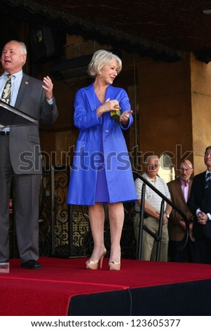 LOS ANGELES - JAN 3:  Tom LeBonge, Helen Mirren at the Hollywood Walk of Fame Star Ceremony for Helen Mirren at Pig 'n Whistle on January 3, 2013 in Los Angeles, CA - stock photo