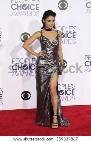 LOS ANGELES - JAN 6:  Vanessa Hudgens at the Peoples Choice Awards 2016 - Arrivals at the Microsoft Theatre L.A. Live on January 6, 2016 in Los Angeles, CA - stock photo