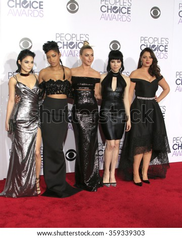 LOS ANGELES - JAN 6: Vanessa Hudgens, Keke Palmer, Julianne Hough, Carly Rae Jepsen, Kether Donohue at the Peoples Choice Awards 2016 at the Microsoft Theatre  on January 6, 2016 in Los Angeles, CA - stock photo