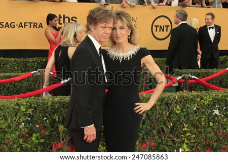 LOS ANGELES - JAN 25:  William H Macy, Felicity Huffman at the 2015 Screen Actor Guild Awards at the Shrine Auditorium on January 25, 2015 in Los Angeles, CA - stock photo