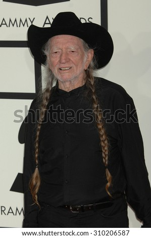 LOS ANGELES - JAN 26:  Willie Nelson arrives at the 56th Annual Grammy Awards Arrivals  on January 26, 2014 in Los Angeles, CA                 - stock photo