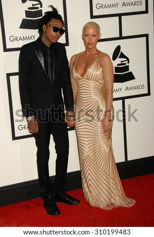 LOS ANGELES - JAN 26:  Wiz Khalifa and Amber Rose arrives at the 56th Annual Grammy Awards Arrivals  on January 26, 2014 in Los Angeles, CA                 - stock photo