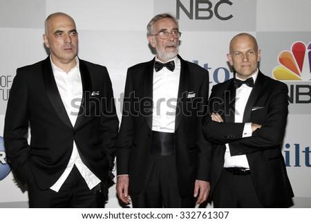 LOS ANGELES - JAN 11:  Zaza Urushadze, Lembit Ulfsak, Ivo Felt at the NBC Post Golden Globes Party at a Beverly Hilton on January 11, 2015 in Beverly Hills, CA - stock photo