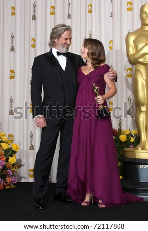 LOS ANGELES -  27:  Jeff Bridges, Natalie Portman in the Press Room at the 83rd Academy Awards at Kodak Theater, Hollywood & Highland on February 27, 2011 in Los Angeles, CA - stock photo