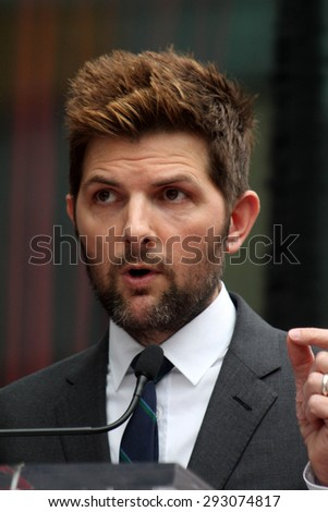 LOS ANGELES - JUL 1:  Adam Scott at the Paul Rudd Hollywood Walk of Fame Star Ceremony at the El Capitan Theater Sidewalk on July 1, 2015 in Los Angeles, CA - stock photo