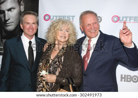 "LOS ANGELES - JUL 11:  Allan Glaser, Connie Stevens, Tab Hunter at the ""Tab Hunter Confidential"" at Outfest at the Directors Guild of America on July 11, 2015 in Los Angeles, CA - stock photo"