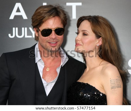 "LOS ANGELES - JUL 19:  Brad Pitt & Angelina Jolie arrive at the ""Salt"" Premiere at Grauman's Chinese Theater on July19, 2010 in Los Angeles, CA .... - stock photo"