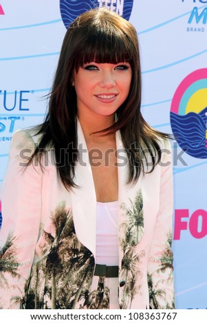 LOS ANGELES - JUL 22:  Carly Rae Jepsen arriving at the 2012 Teen Choice Awards at Gibson Ampitheatre on July 22, 2012 in Los Angeles, CA - stock photo