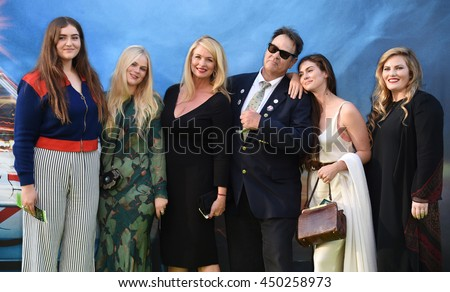 "LOS ANGELES - JUL 9:Dan Aykroyd, Donna Dixon, Belle Aykroyd, Stella Aykroyd, Danielle Aykroyd & Augusta Aykroyd arrives to ""Ghostbusters"" LA Premiere on July 09, 2016 in Hollywood, CA.                - stock photo"