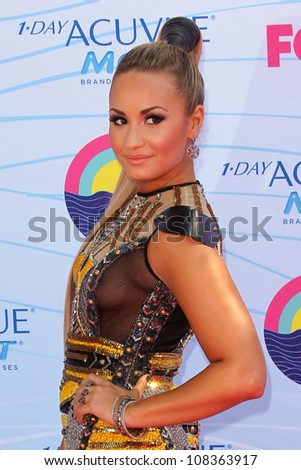 LOS ANGELES - JUL 22:  Demi Lovato arriving at the 2012 Teen Choice Awards at Gibson Ampitheatre on July 22, 2012 in Los Angeles, CA - stock photo