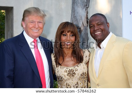 LOS ANGELES - JUL 24:  Donald Trump, Holly Peete, & Rodney Peete arrives at  the 12th Annual HollyRod Foundation Event at Green Acres Estate on July24, 2010 in Beverly Hills, CA .... - stock photo