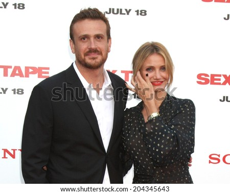 """LOS ANGELES - JUL 10:  Jason Segel, Cameron Diaz at the """"Sex Tape"""" Premiere at the Village Theater on July 10, 2014 in Westwood, CA - stock photo"""