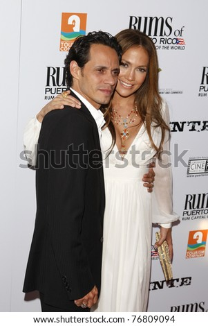 LOS ANGELES - JUL 31: Jennifer Lopez and husband Marc Anthony at the premiere of 'El Cantante' held at the Director's Guild of America in West Hollywood, CA on July 31, 2007. - stock photo