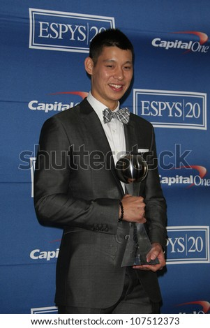 LOS ANGELES - JUL 11: Jeremy Lin in the press room during the 2012 ESPY Awards at Nokia Theater L.A. Live on July 11, 2012 in Los Angeles, California - stock photo