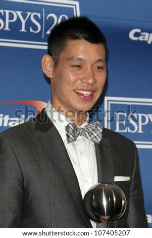 LOS ANGELES - JUL 11:  Jeremy Lin in the Press Room of the 2012 ESPY Awards at Nokia Theater at LA Live on July 11, 2012 in Los Angeles, CA - stock photo