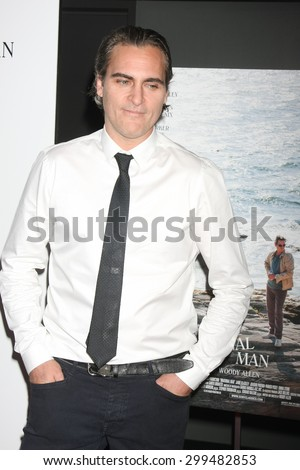 """LOS ANGELES - JUL 9:  Joaquin Phoenix at the """"Irrational Man"""" Los Angeles Premiere at the Writer's Guild of America Theater on July 9, 2015 in Beverly Hills, CA  - stock photo"""