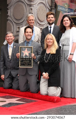 LOS ANGELES - JUL 1:  Michael Douglas, Adam Scott, Paul Rudd, Chamber Officials at the Paul Rudd Hollywood Walk of Fame Ceremony at the El Capitan Theater Sidewalk on July 1, 2015 in Los Angeles, CA - stock photo