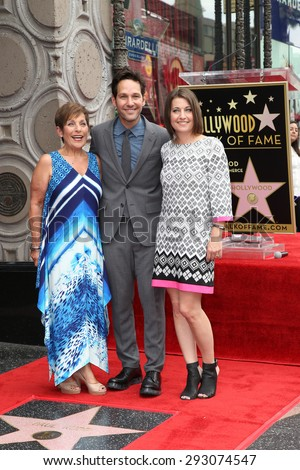 LOS ANGELES - JUL 1:  Paul Rudd, Mother, Sister at the Paul Rudd Hollywood Walk of Fame Star Ceremony at the El Capitan Theater Sidewalk on July 1, 2015 in Los Angeles, CA - stock photo