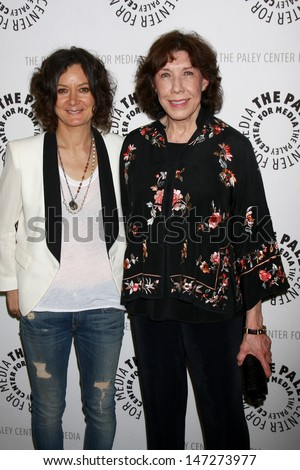 """LOS ANGELES - JUL 16:  Sara Gilbert, Lily Tomlin arrives at  """"An Evening With Web Therapy: The Craze Continues..."""" at the Paley Center for Media on July 16, 2013 in Beverly Hills, CA - stock photo"""