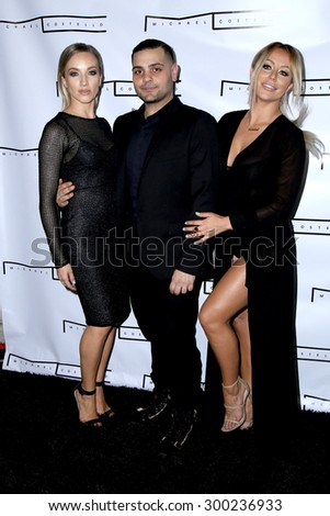 LOS ANGELES - JUL 23:  Shannon Bex, Michael Costello, Aubrey O'Day at the Michael Costello And Style PR Capsule Collection Launch Party  at the Private Location on July 23, 2015 in Los Angeles, CA - stock photo