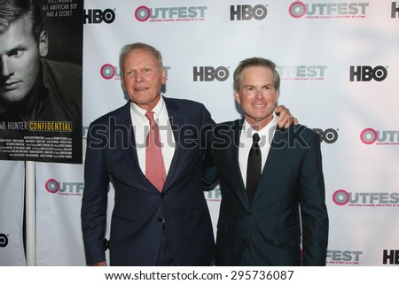 """LOS ANGELES - JUL 11:  Tab Hunter, Allan Glaser at the """"Tab Hunter Confidential"""" at Outfest at the Directors Guild of America on July 11, 2015 in Los Angeles, CA - stock photo"""