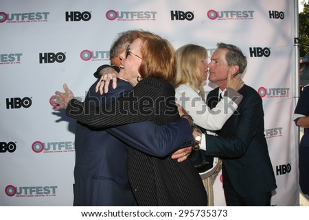 """LOS ANGELES - JUL 11:  Tab Hunter, Carol Burnett at the """"Tab Hunter Confidential"""" at Outfest at the Directors Guild of America on July 11, 2015 in Los Angeles, CA - stock photo"""