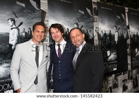 """LOS ANGELES - JUL 10:  Thomas Sadoski. Johnny Gallagher Jr., Alan Poul arrives at the HBO series """"The Newsroom"""" Season 2 Premiere Screening at the Paramount Theater on July 10, 2013 in Los Angeles, CA - stock photo"""