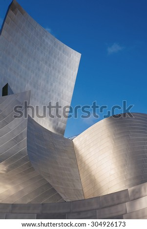 LOS ANGELES -  JULY 26:  Exterior of the Walt Disney Concert Hall in of Los Angeles, designed by Frank Gehry. It opened on 2003, as the home of the Los Angeles Philharmonic. - stock photo