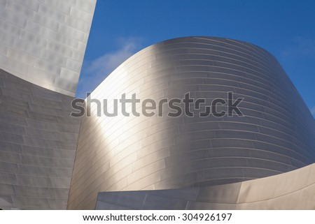 LOS ANGELES -  JULY 26:  Fragment of exterior of the Walt Disney Concert Hall in of Los Angeles, designed by Frank Gehry. It opened on 2003, as the home of the Los Angeles Philharmonic. - stock photo